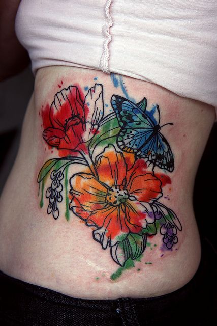 watercolor flower and butterfly #tattoo #ink