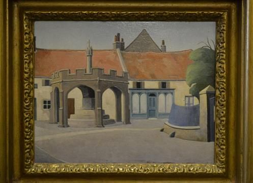 Harold Steggles (1911 - 1971) A village scene with a market cross signed in pencil verso, oil