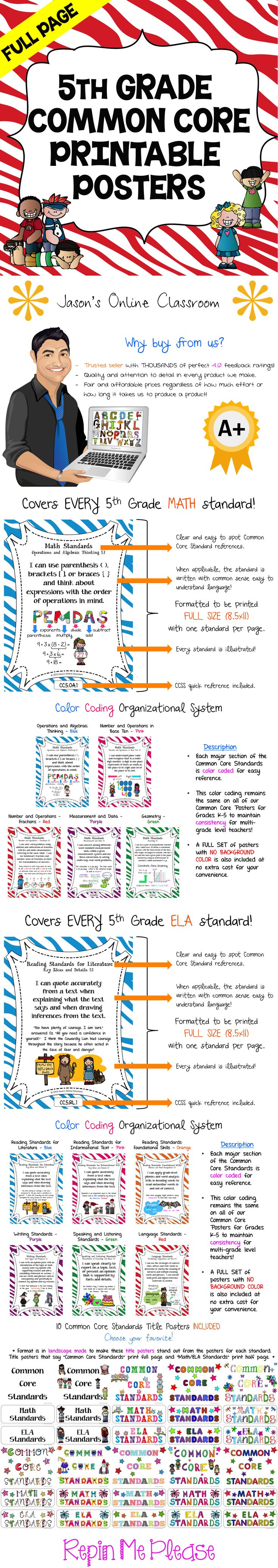 5th GRADE COMMON CORE POSTERS - Save a ton of time by buying our FULL PAGE SIZE pre-made Common Core color coded posters with detailed visual examples. We also offer half-sized posters which can be found at our TpT store. $$