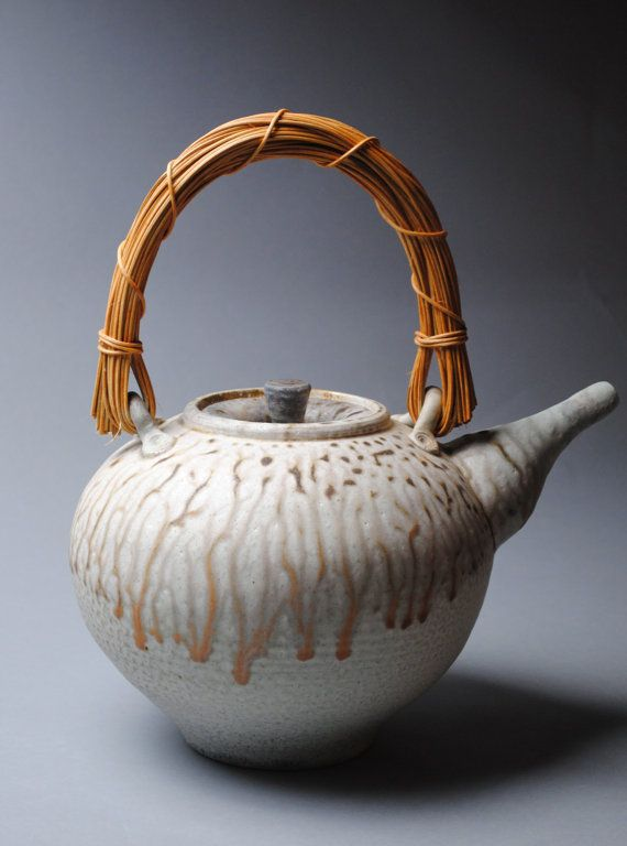 Clay Teapot Soda Fired with Cane Handle by JohnMcCoyPottery, $165.00