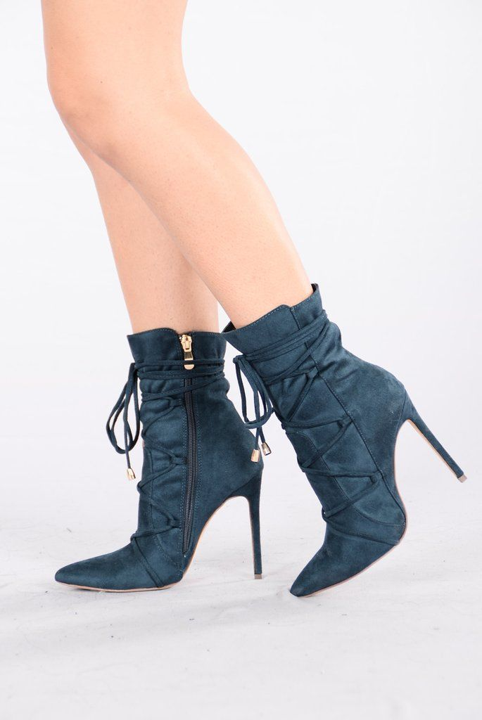 - Available in Teal and Blush - Ankle Boot - Lace Up Front with Tie - Pointed Toe - Inner Side Zipper - Faux Suede - 4 3/8 Inch Heel