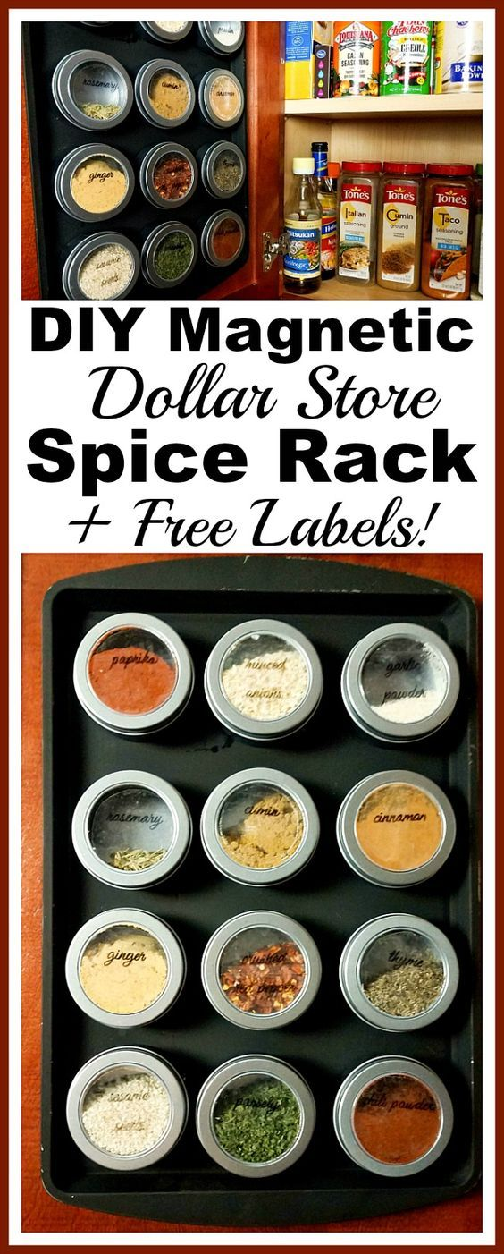 DIY Magnetic Dollar Store Spice Rack- If your spice cabinet is disorganized, you need to try this easy (and frugal) DIY organizer! Here's how to make a magnetic dollar store spice rack!   dollar store DIY, Dollar Tree DIY, organizing ideas, kitchen organizing tips, easy DIY, spice organization, how to organize your spices, inexpensive organization solutions