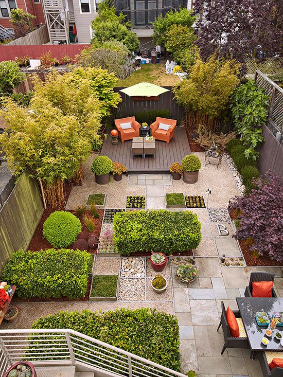 Use Every Square Inch - When you plan a no-mow backyard, it's important to put every square inch of space to work. For example, this urban lot is paved with tightly fitted flagstone pieces interspersed with small streams of river rock to create a natural, easy-care environment. A deck made from composite materials anchors the opposite end of the yard. Sheared evergreens and trees complete the setting.