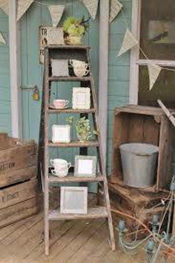 White Rustic Wood Ladder 5 Ft Hanging Shelf Rustic Reclaimed Barn Wood Wall Hanging Rack Old Ladder Decor Front Porch Decorating Vintage Porch