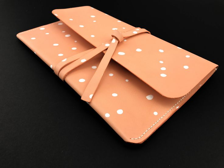 Leather iPad Case Laptop Case MacBook Air Case MacBook Sleeve Laptop Bag Notebook Case Pink & White Polka Dot Case Leather Case by LINThomeware on Etsy
