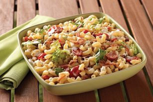 BLT Homestyle Macaroni Salad recipe.  This would be good for a Boy Scout potluck.