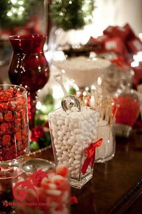 Red candy buffet as wedding favors