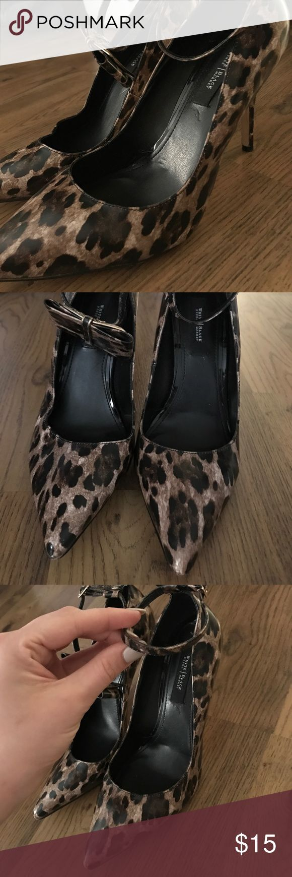Cheetah Heels w Removable Ankle Bow Such fashion forward pointed toe heels with a fabulous cheetah print and an ankle strap with a bow that be clipped on or off depending on styling.. super cute w the bow clipped on the front. only worn once, perfect condition!                                                                       ⭐️5 STAR Posher⭐️Same Day Shipping Before 3PM⭐️Custom Thank You Card⭐️Open to Trades&Negotiations⭐️Proud to Provide Excellent Customer Service⭐️ White House Black…