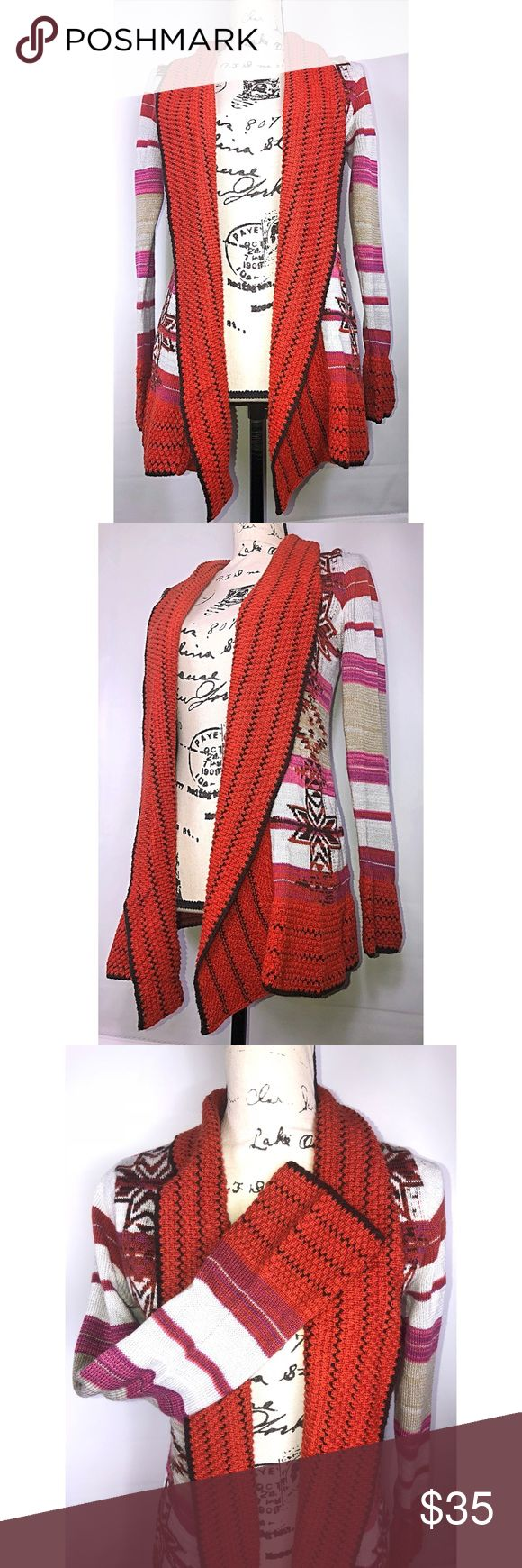 BCBG Maxima Burnt Orange Aztec Print Cardigan BCBG Maxima Burnt Orange Aztec Print Cardigan Sweater.  Size Small. Rusty orange, pink, black, brown, white, etc. Semi-bell contrast cuff.  Handwash, 100% acrylic.  Medium weight, not heavy and bulky.  Discontinued design.  MRSP $160. Welcome to Coco's Closet 👸🏾 Need Measurements? Have questions? ☺️Just comment below 👇🏾Accepting Most Offers ✅ Always willing to negotiate. Bundle your likes for a private offer 📦☺️ BCBGMaxAzria Sweaters…