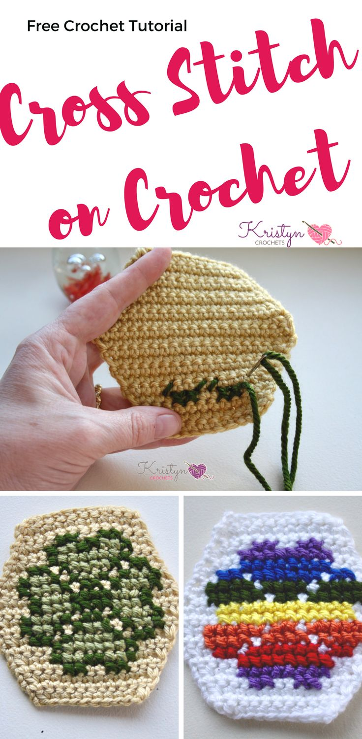 Free tutorial with photos, how to cross stitch on crochet.