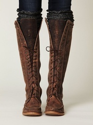 brown leather tall Lace Up Boots