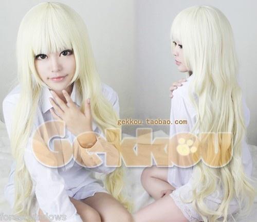 Hot sale ! New Long Light Blonde Wavy Cosplay Wigs  W22