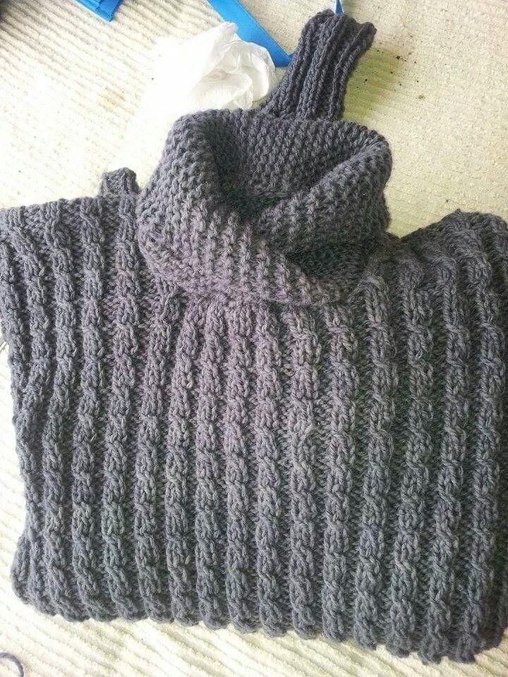 Sweater cuello esmoquin100 % lana de oveja tejido a palillos