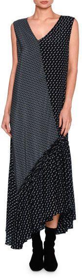 Stella McCartney Dog-Print Patchwork Silk Maxi Dress, Navy