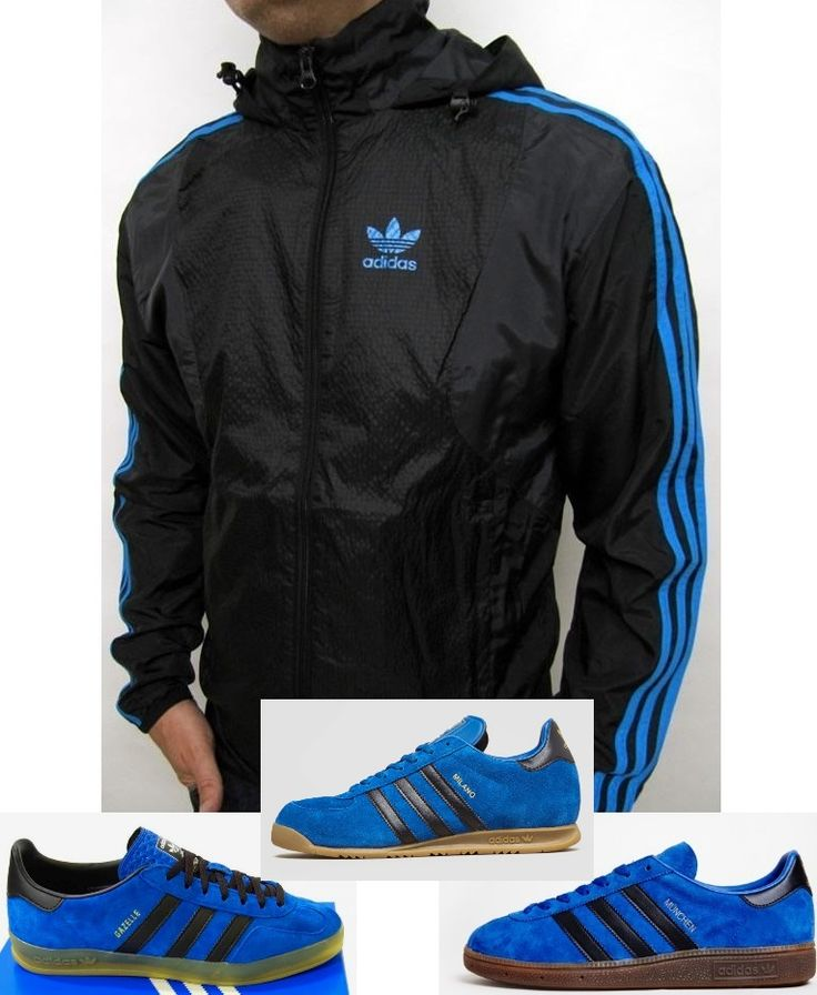 adidas Seersucker Windbreaker in black/royal blue looks superb with any of  this trio of bad boys - Munchens, Gazelles or the new Jeans II - mens suede  shoes ...