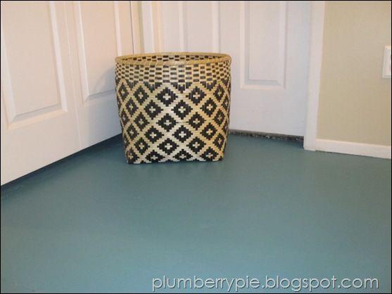 Plumberry Pie Teal Painted Subfloor