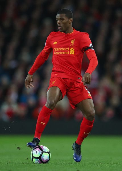 Georginio Wijnaldum of Liverpool in action during the Premier League match between Liverpool and AFC Bournemouth at Anfield on April 5, 2017 in Liverpool, England.