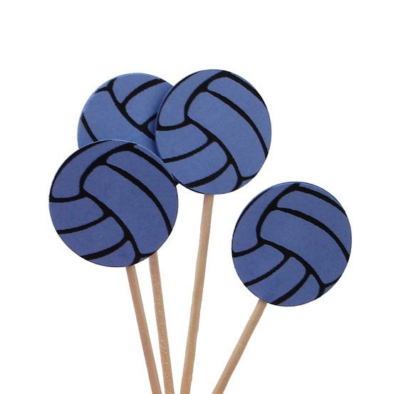 24 Bright Blue Volleyball Party Picks, Cupcake Toppers, Food Picks, Sandwich Picks, Toothpicks - No973