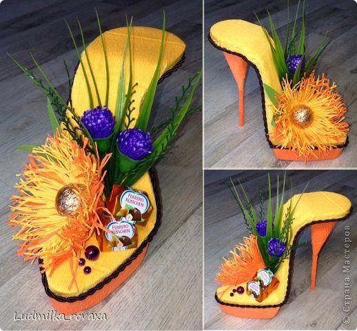 Свит-дизайн 8 марта День рождения Моделирование конструирование Новая коллекция туфелек Бумага гофрированная фото 1