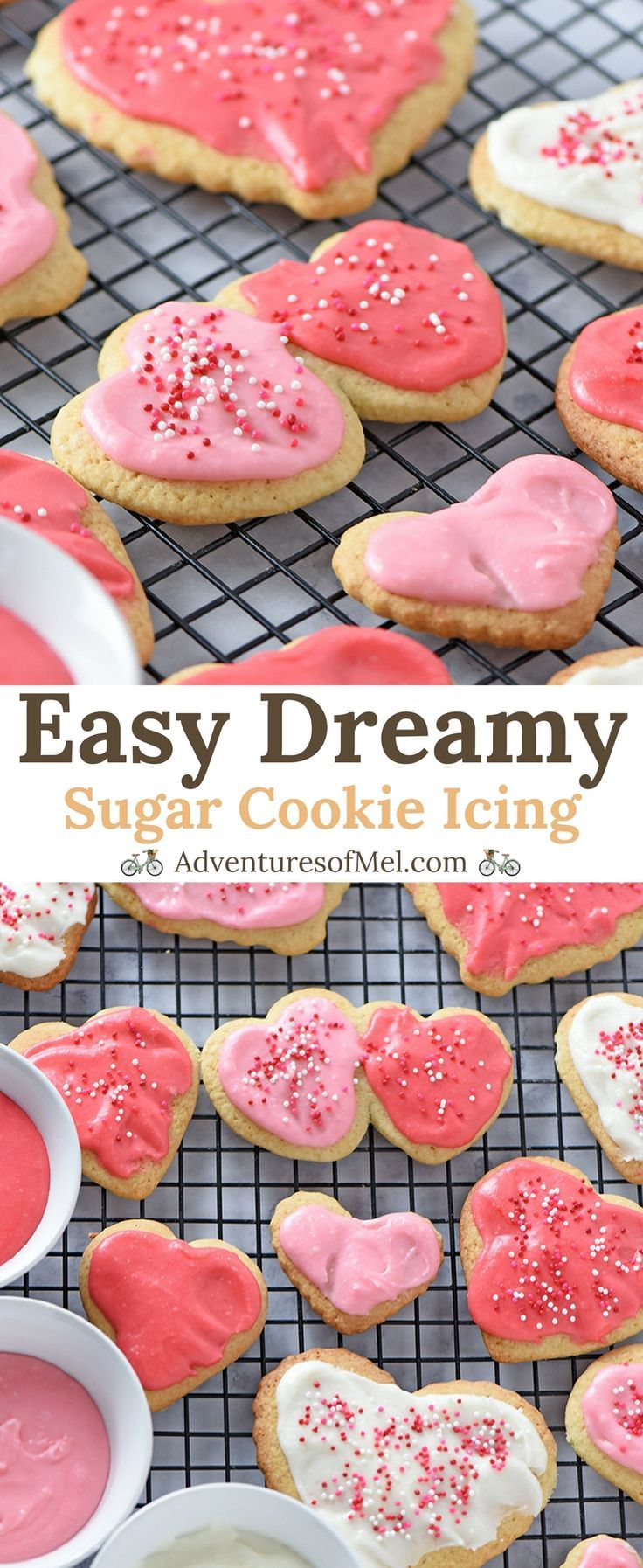 Easy Sugar Cookie Icing that's oh so creamy and scrumptious on holiday cutout sugar cookies. The perfect mix of powdered sugar, cream, butter, vanilla, and almond extract. #icing #ValentinesDay #heartshaped #sugarcookies #cookies #Valentine