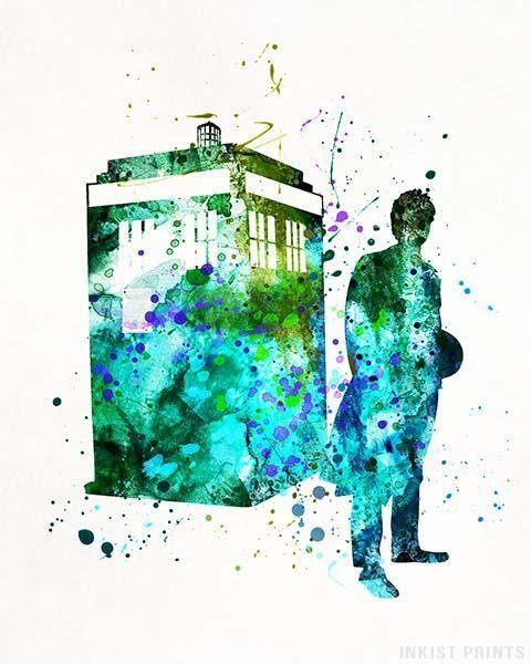 Tardis Dr Who Watercolor Wall Art Poster - Prices from $9.95 - Click Photo for Details - #nursery #christmasgift #giftforher #kidsdecor #babyroom #Tardis #DrWho