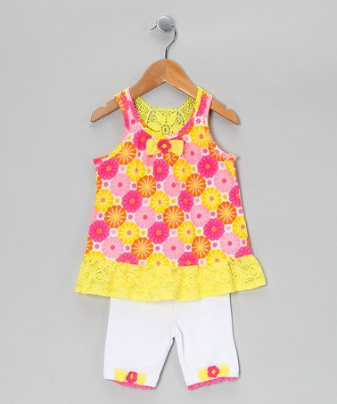 Take a look at this Yellow & Pink Floral Tunic & Shorts - Infant & Toddler by Nannette on #zulily today!