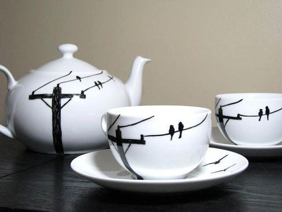 Painted Teacup Set 2 Birds on Wire by PrettyMyDrink on Etsy, $40.00