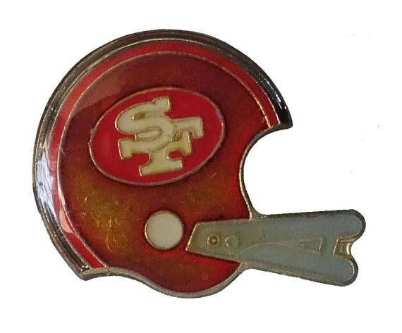 "SAN FRANCISCO 49ERS Helmet vintage enamel pin lapel NFL Football by VintageTrafficUSA  14.00 USD  A vintage 49ers pin! Excellent condition. Measures: approx 1"" 20 years old hard to find vintage high-quality cloisonne lapel/pin. Beautiful die struck metal pin with colored glass enamel filling. Add inspiration to your handbag tie jacket backpack hat or wall. Have some individuality = some flair! -------------------------------------------- SECOND ITEM SHIPS FREE IN USA!!! LOW SHIPPING OUTSIDE…"