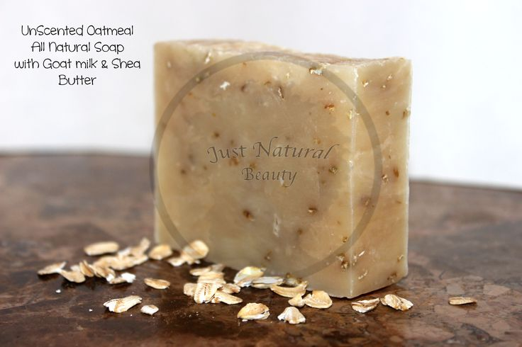 Unscented Oatmeal Soap: INGREDIENTS: Olive Oil, Coconut Oil, Water, Sodium Hydroxide, Organic Palm Oil, Fresh Goat Milk, Organic Sunflower Oil, Shea Butter, Oats (All Natural).