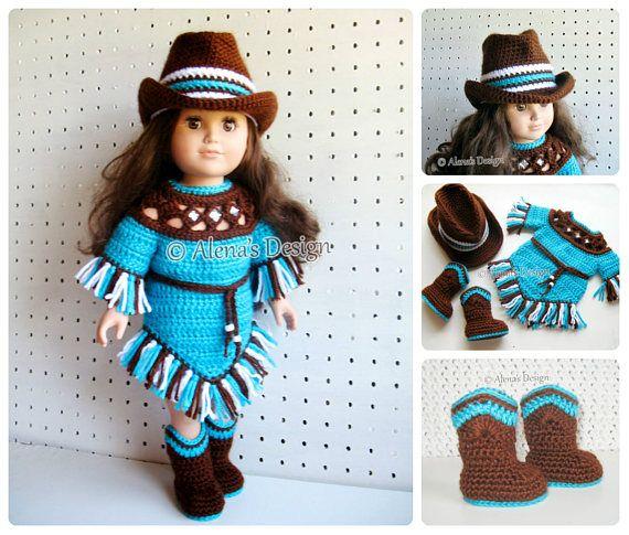 Crochet Pattern 3 PC Set for 18 in Doll Crochet Patterns