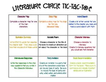 Literature circle assignments