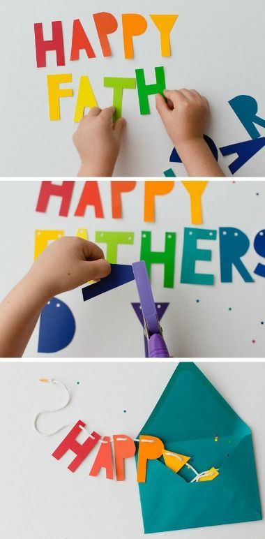 Fun Father's Day Banner Tutorial and Craft. We love how  you can pull it from an envelope before displaying it. This and more DIY Fathers Day Decorations on Frugal Coupon Living.