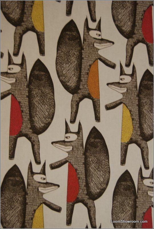Fox Retro Modern Scandinavian Mid Century Modern Design Print Heavy Weight Cotton Fabric LDSO500