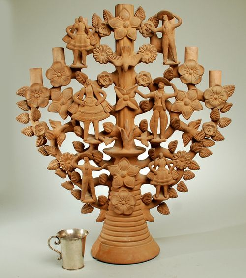 Large Antique Mexican Tree of Life Candelabra - Soteno Family