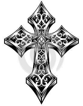 Plně editovatelné vektorové ilustrace zdobené keltské kříže v černé barvě na ojedinělé bílé pozadí, obrázek vhodný pro logo, hřeben, konstrukční prvky, erb, nebo tetování.