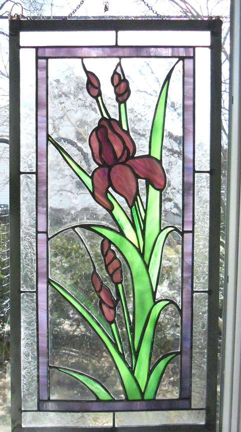 Iris stained glass panel. 13 1/2 X 27 1/4