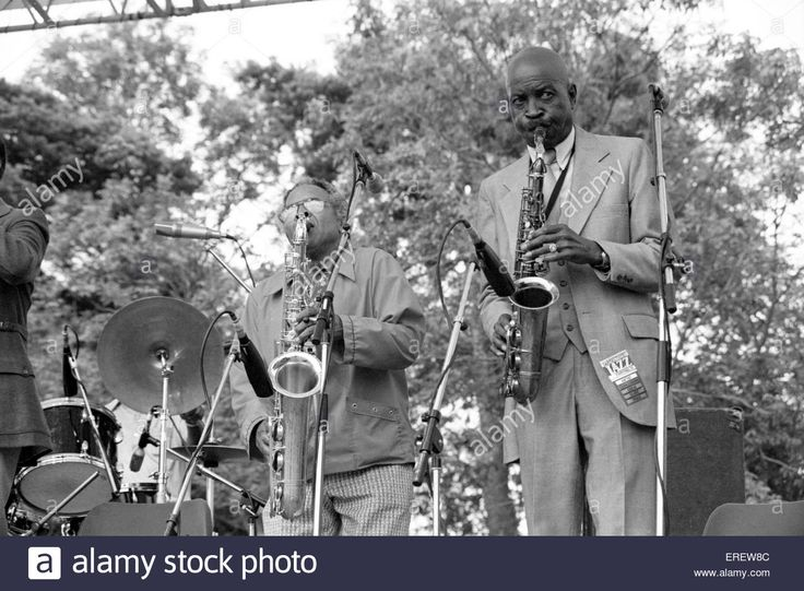Eddie Chamblee and Eddie 'Cleanhead' Vinson (right) performing at the Capital Radio Jazz Festival in Knebworth, England, July