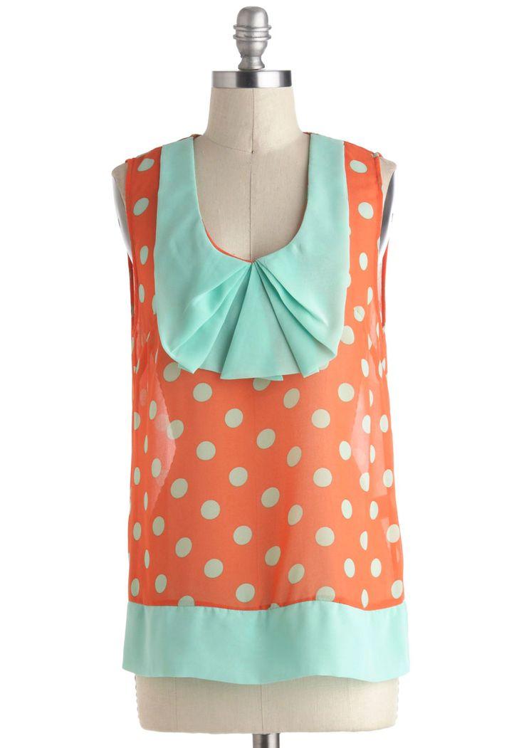 State Fair Play Top - Orange, Blue, Polka Dots, Pleats, Sleeveless, Mid-length, Pastel, Sheer
