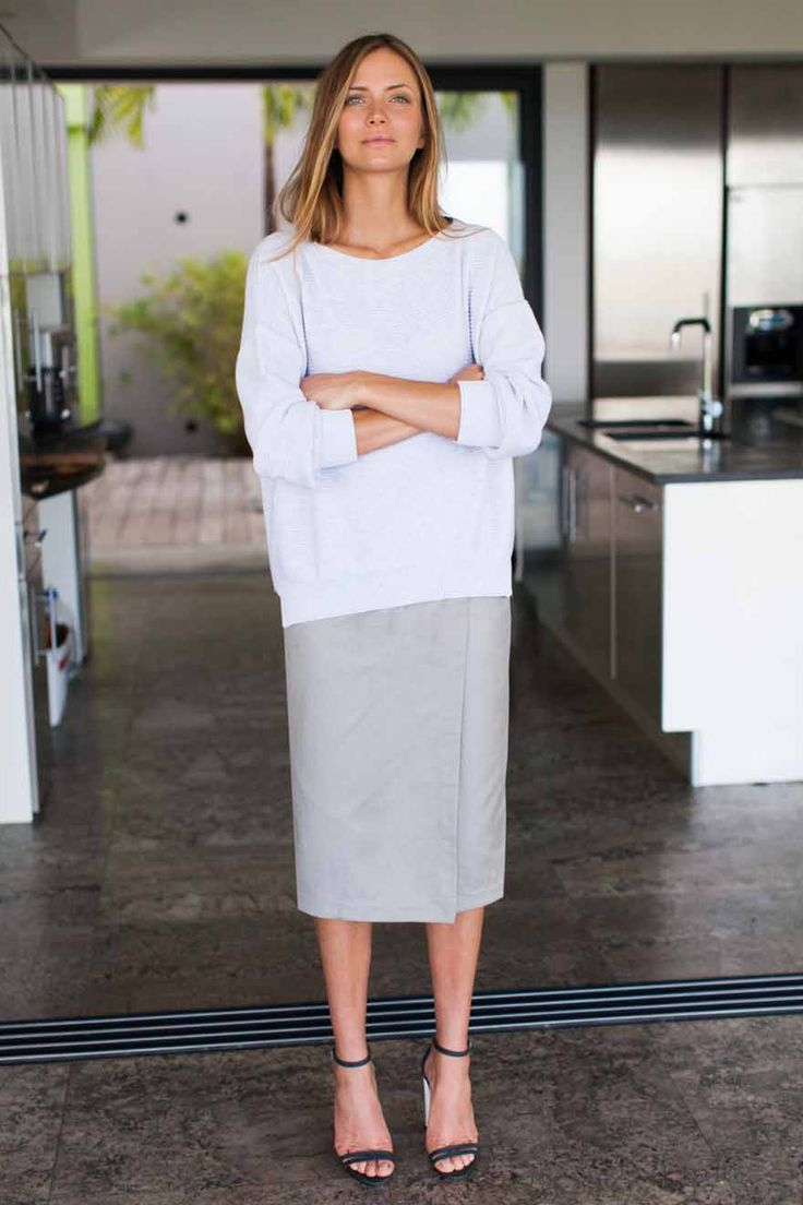 Midi Wrap Skirt in Ash | Emerson Made