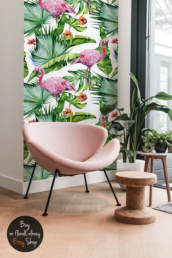 Monstera Flamingo Wallpaper || Flowers Wall Mural || Peel&Stick || Tropical Floral Removable Wallpaper || Exotic Wall Decor #129