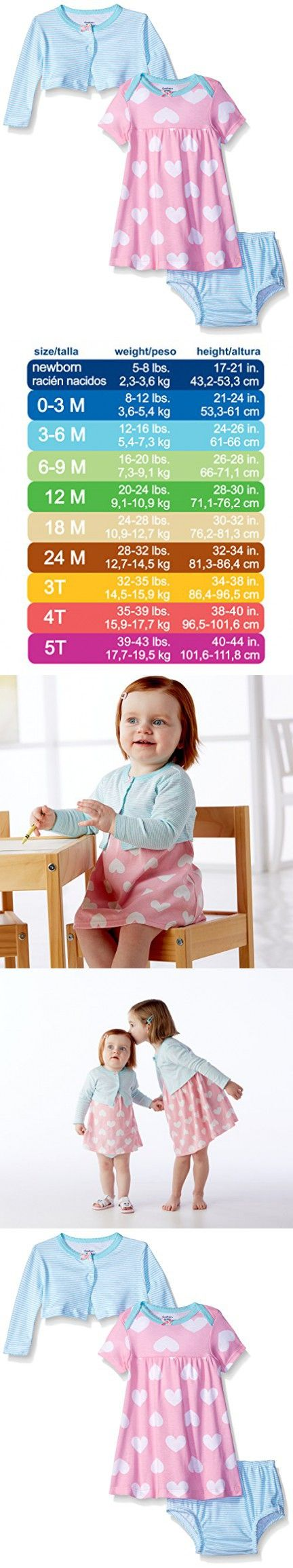 Gerber Baby Three-Piece Cardigan, Dress and Diaper Cover Set, Big Hearts, 0-3 Months