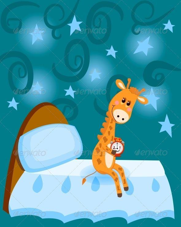 Giraffe Getting Ready to Sleep at Night  #GraphicRiver         Giraffe, getting ready to sleep at night, sets the alarm-clock     Created: 8November13 GraphicsFilesIncluded: JPGImage #VectorEPS #AIIllustrator Layered: Yes MinimumAdobeCSVersion: CS Tags: alarmclock #animal #background #bed #blue #cartoon #cloud #cute #design #domestic #fun #giraffe #humor #mammal #mammals #nature #night #orange #pattern #pet #pets #pillow #red #sky #sleep #star #stars #water #wildlife #zoo