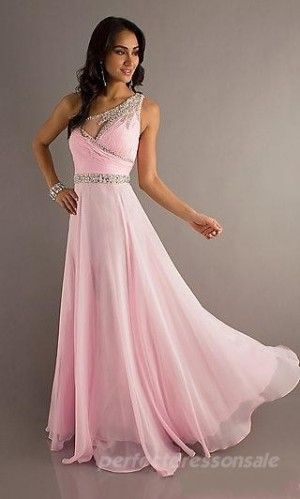 Natural Asymmetric Prom Dresses Long Chiffon Prom Dresses 05010