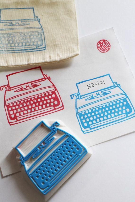 vintage typewriter stamp. hand carved rubber by talktothesun