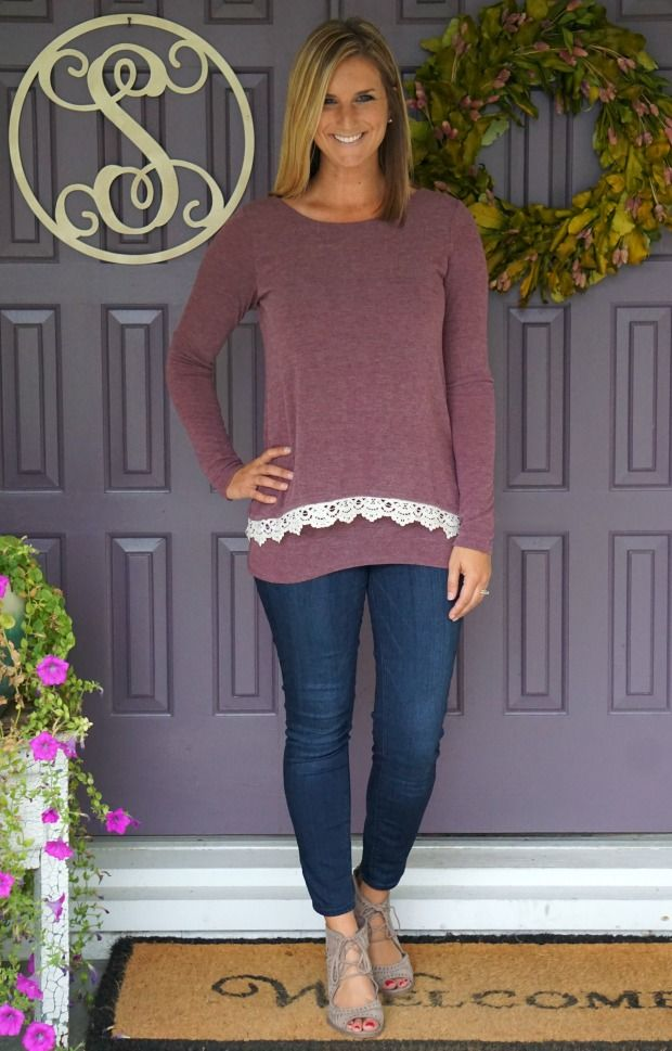 Cute mauve sweater with lace hem - Loveappella Jemie Crochet Hem Knit Top from Stitch Fix
