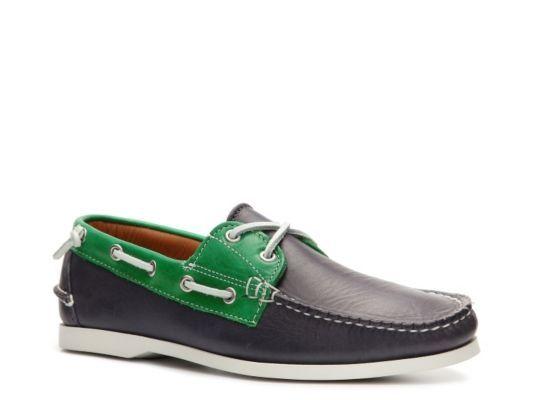 Men's Ralph Lauren Collection Telford II Leather Color Block Boat Shoe - Navy Blue/Green