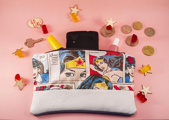 Handmade White Leather Clutch With Wonder Woman Detail/ Purse