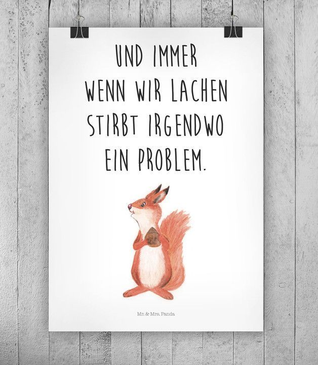 Spruch Motivation als Wanddeko für Zuhause mit süßer Illustration / illustrated squirrel and motivational saying made by small-world via DaWanda.com