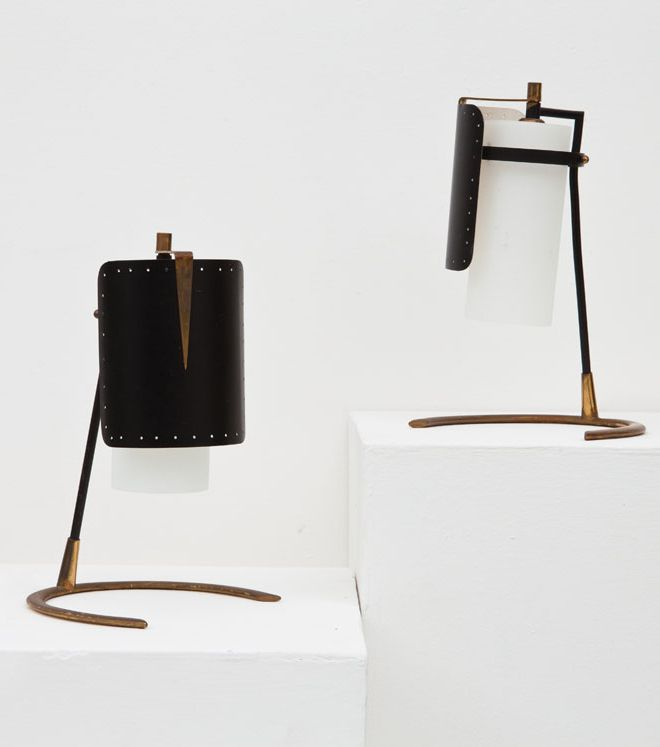 Anonymous; Brass, Enameled Metal and Opaline Glass Table Lamps, 1950s.