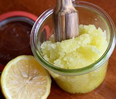 Lemon Honey Scrub.  (Don't be afraid to scrub hard!)  1 cup sugar, 1/2 cup olive oil, Juice of 1 lemon, 1 tbsp honey - for the girls